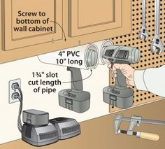 Click To Enlarge - Cordless drill holsters hang 'em high in the workbench in the garage