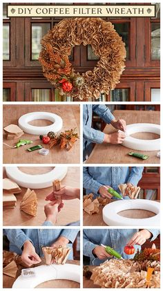 A fall wreath is a great way to greet your guests, but who knew it was this easy to make? A fall wreath is a great way to greet your guests, but who knew it was this easy to make? Coffee Filter Wreath, Coffee Filter Crafts, Coffee Filter Flowers, Coffee Filters, Wreath Crafts, Diy Wreath, Door Wreaths, Burlap Wreaths, Grapevine Wreath