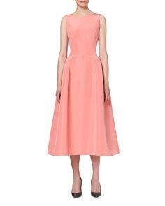 Sleeveless Tie-Back Midi Cocktail Dress, Shell Pink