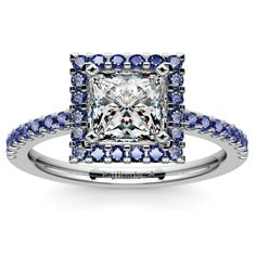 Halo Sapphire Gemstone Engagement Ring with Side Stones in Platinum | Princess