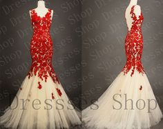 Lace+Prom+Dresses+Red+Lace+Prom+Gown+Mermaid+by+Dressesshop,+$269.00