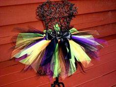 Girls Witch Tutu- Baby Witch costume - Girls Witch Costume-  Orange and Black tutu, Purple tutu, Green tutu, Toddler Witch tutu