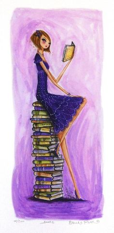 """Bella Pilar Print, numbered, signed, limited edition 8.5"""" x 11"""" """"Books"""" ABFFE auction. Proceeds support the American Booksellers Foundation for Free Expression and help underwrite the Kids' Right to..."""