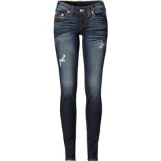 TRUE RELIGION Jeans Skinny ($190) ❤ liked on Polyvore featuring jeans, pants, bottoms, calças, pantalones, denim, ripped denim jeans, destroyed denim jeans, true religion jeans and destructed skinny jeans