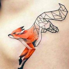 Half Geomeiric Fox Tattoo Idea