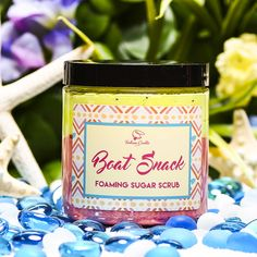 BOAT SNACK Foaming Sugar Scrub - $16.99 Trust us, you won't lack basic intelligence required for pretty much anything when you use this foaming sugar scrub. Just as sweet as Heihei himself, indulge in decadent, buttery pound cake topped with sugared mango and honeydew melon. Land a front row seat with this XL foaming sugar scrub! 8oz jar (Pink Sample)