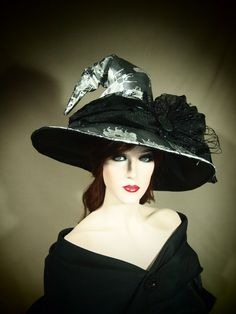 "Couture Witch Hat ""Black Ice"" 22"" OOAK"