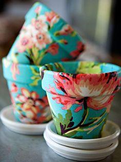 terra cotta pots + fabric + mod podge = adorable!