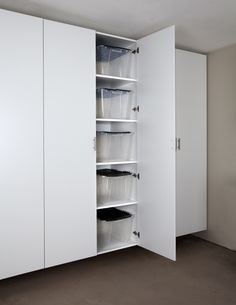 Palo Alto White Tall Garage Cabinet ~Need these in my garage to organize all my home decor products. Perfect!