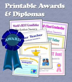 Printable Awards, Certificates and Diplomas