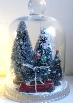 Christmas glass dome with winter scene Christmas decoration
