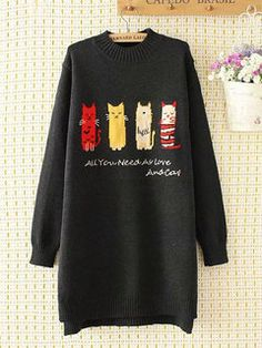Knit Cat Print Long Sleeve Casual Pullover Sweater is on sale at reasonable prices, having a beautiful sweater & cardigan, you can own a beautiful autumn. Classy Outfits, Chic Outfits, Knitted Cat, Photography Women, Food Photography, Fashion Photography, Womens Fashion For Work, Sweater Fashion, Latest Fashion Trends