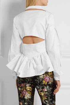 Antonio Berardi | Cutout cotton-twill peplum shirt | NET-A-PORTER.COM