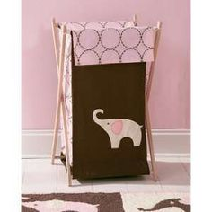 Carters Pink Elephant Nursery Clothes Hamper: Baby