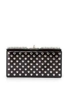 PRADA Small Studded Patent Turn-Lock Clutch Bag