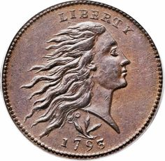 1793 1C Wreath, Vine and Bars MS64 Brown PCGS. Chocolate brown surfaces, light tan lustre, Mint-State Wreath cent.