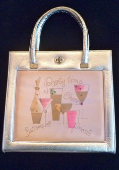 Fine Maid California gold lame' party time beverage tote purse