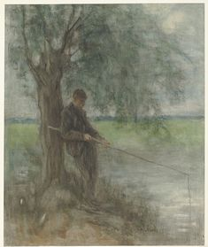 Jozef Israëls - An Angler  brush on paper, 73.5 × 61 cm (28.9 × 24 in)  Rijksmuseum Amsterdam, the Netherlands