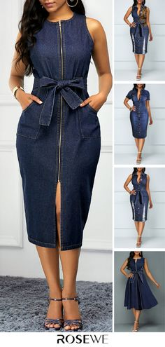 Cute Denim Dress For Women 2019 Blue Dresses For Women, Short African Dresses, Latest African Fashion Dresses, African Print Fashion, Denim Fashion, Look Fashion, Fashion Blouses, Fast Fashion, Fashion Women