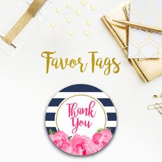 Girl Baby Shower, Navy and Pink, Pink and gold, Baby Girl, Favor Tag, Sticker, Thank you, stripes, striped, chic, cute, floral, roses, 070