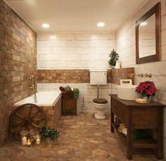 Country koupelna ve vánočním stylu