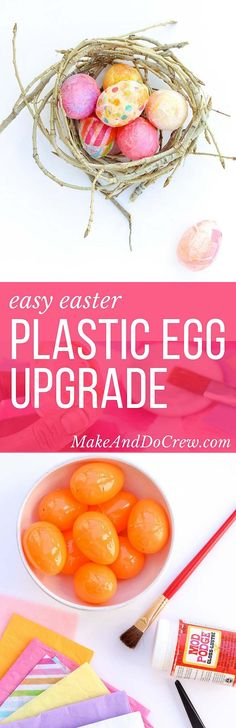 No one will ever guess your stylish, textured DIY Easter decorations were once cheap plastic eggs. These DIY Easter eggs are an inexpensive addition to your Spring decor! Click for this easy tutorial. | http://MakeAndDoCrew.com