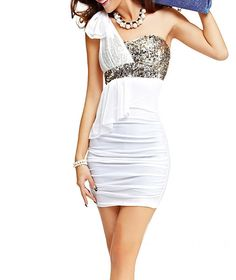 that perfect white and elegant dress with sequins.