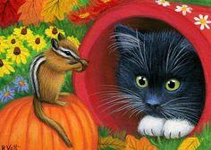 Bridget Voth .... Tuxedo kitten cat chipmunk fall garden flowers original aceo painting art #Realism