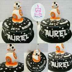 Robo BB-8 Cake (Star Wars) Sweet Cakes, Fondant, Bb, Star Wars, Birthday, Desserts, Food, Tailgate Desserts, Fondant Icing