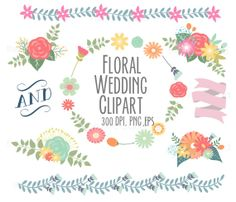Spring Flowers Wedding Floral clipart Digital by Thelittleclouddd, $4.49