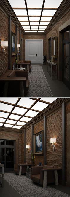 Loft House, Corridor, Skylight, Pergola, Outdoor Structures, Restaurant, Interior Design, Home Decor, Architecture