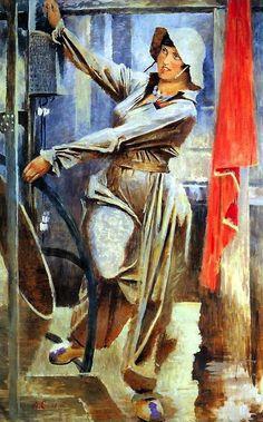 Alexandr Samokhvalov: Female Worker Taking Part in the Construction of the Subway (1937)