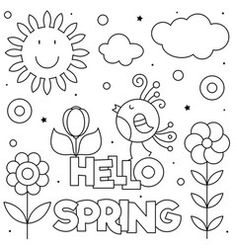Hello spring coloring page black and white vector Snowman Coloring Pages, New Year Coloring Pages, Printable Christmas Coloring Pages, Spring Coloring Pages, Cute Coloring Pages, Spring Pictures To Color, Gingerbread Man Coloring Page, Happy Sweetest Day, Happy Birthday Coloring Pages