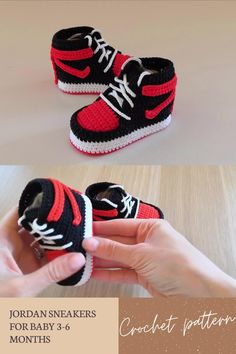 Digital pattern includes pdf description with photos and video tutorial with subtitles. Inspired by Nike Air Jordan, this crochet pattern of baby booties makes a great and memorable pregnancy gift, baby shower gift, fashion baby outfit.#crochetpattern#crochetbabyshoes#babybooties Half Double Crochet, Single Crochet, Baby Patterns, Crochet Patterns, Diy Baby Gifts, Baby Sneakers, Crochet Baby Booties, Digital Pattern, Air Jordans