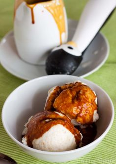 peach ice cream and salted caramel topping