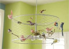 Danny Seo DIY Birdcage chandelier from Ikea light I like as a light fixture leave off the birds Diy Projects To Try, Craft Projects, Craft Tutorials, Craft Ideas, Birdcage Chandelier, Wire Chandelier, Birdcage Light, Chandeliers, Wire Lampshade