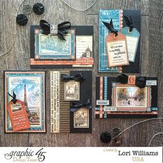 Lori used one sheet of Cityscapes to create this great set of cards! Wow! #graphic45