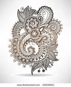 line art ornate flower design, ukrainian ethnic style, paisley hand drawing, vector illustration