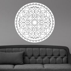 Find More Wall Stickers Information about Wall Vinyl Room Sticker Decals Mural Design Yantra Mandala Flower  22x22inch,High Quality wall vinyl,China room stickers Suppliers, Cheap sticker decal from ACB Wall Art Store on Aliexpress.com
