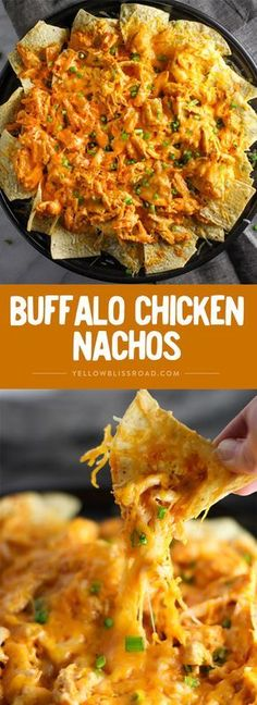 Buffalo Chicken Nachos - Your hungry game day crowd will love this easy appetizer! Nacho Recipes, Food Recipes Snacks, Game Day Recipes, Quick Food Recipes, Easy Mexican Food Recipes, Yummy Dinner Recipes, Game Day Snacks, Game Day Food, Dessert Recipes