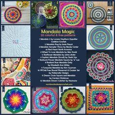 Mandala Magic - 20 Colorful Free Patterns http://oombawkadesigncrochet.com/2016/07/mandala-magic-20-colorful-free-patterns.html
