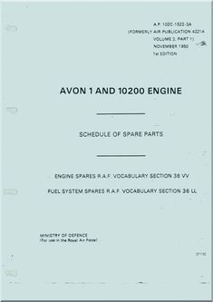 Rolls Royce Avon 1 and 10200 Series Aircraft Engine Schedule of Spare Parts AP 102C-1522-3A - Aircraft Reports - Aircraft Manuals - Aircraft Helicopter Engines Propellers Blueprints Publications