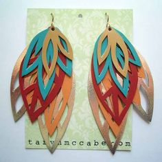 Leaf earrings - hand cut, no laser cut jewelry here
