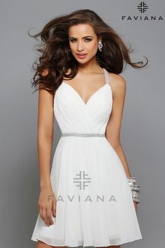 Chiffon Ruched Bodice with Beaded Strap #Faviana Style 7663