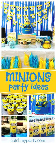 Check out this fun One-in- a Minion Birthday party! The minion cupcakes are so cute! 2 Year Old Birthday Party, 4th Birthday Parties, Birthday Fun, Birthday Party Decorations, Birthday Cakes, Third Birthday, Birthday Ideas, Minion Birthday Banner, Minion Theme