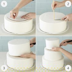 Stacked Tiered Cake Construction – Famous Last Words Creative Cake Decorating, Wilton Cake Decorating, Cake Decorating Techniques, Cake Decorating Tutorials, Creative Cakes, Two Teir Cake, Three Tier Cake, Two Tiered Cake Recipe, How To Make Wedding Cake