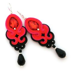 soutache earrings, soutache jewelry, bridal jewelry, statement earrings, formal jewelry | SABO DESIGN