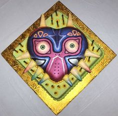 The Legend of Zelda: Majora's Mask cake. Not sure if should eat or plaster against face. Either is fun. Either is fine. Kid Cupcakes, Cupcake Cakes, Zelda Cake, Zelda Birthday, 4th Birthday, Video Game Cakes, Link Cosplay, Nintendo, Cake Decorating Techniques