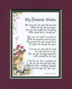 A Gift For A Mother-in-law, #87, Touching 8×10 Poem, Double-matted in Burgundy over Green And Enhanced With Watercolor Graphics