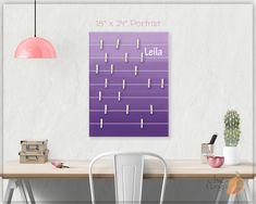 A beautiful way to display your cards and memos and decorate any room. This display board can be hanged in a dorm, kids room, teens room, office, kitchen, family space and more. Personalization option. 10 design options. Hand painted canvas with wooden clothespins. #giftforher #Bulletinboard #cardsdisplay #Purpleombre #ombre #Purpleroom #girlsroom #giftforgirl #teensroom #officeorganizer #memoholder #homeorganizer #personalizedgift #giftforteens #freeshipping #christmasgift #hannukahgift Bulletin Board Design, Bulletin Boards, Unique Gifts For Kids, Name Wall Art, Purple Rooms, Last Minute Christmas Gifts, Wooden Clothespins, Hanukkah Gifts, Baby Room Art
